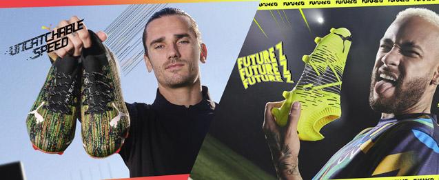 botas de fútbol Puma Game on Pack color Ultra utilizado por Griezmann color verde y Z utilizado por Neymar color amarillo para niño.
