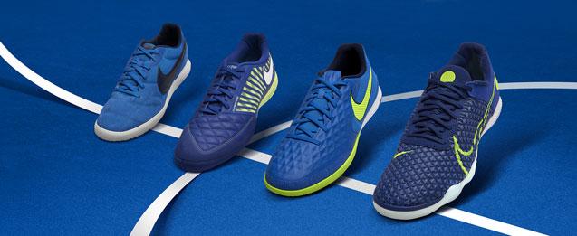 4 zapatillas de fútbol sala colección skycourt pack colores azules oscures y claros