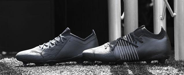 botas de fútbol Puma colección LazerTouch Collection, future y Ultra de color negro.