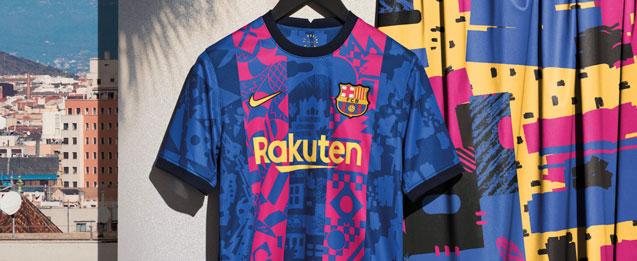La nueva tercera equipación infantil del FC Barcelona para la temporada 2021 2022.
