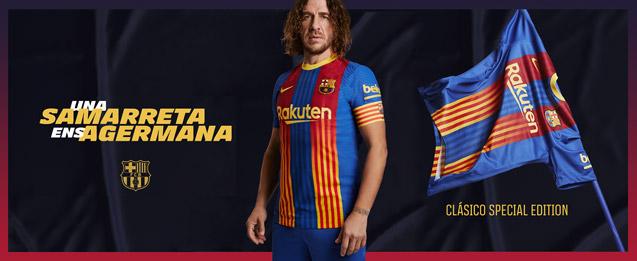 Ex jugador del Barcelona, Puyol con la camiseta El Clásico edición especial para infantil.