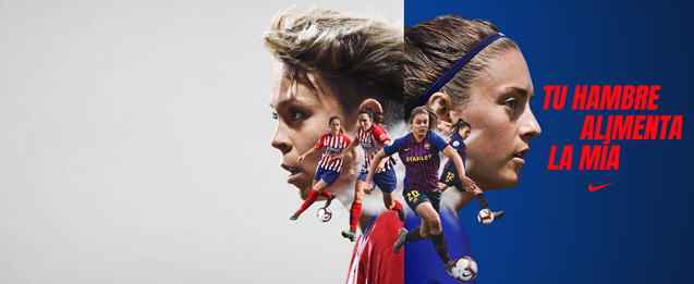 Camiseta de mujer del Atlético de Madrid y camiseta de mujer del Barcelona