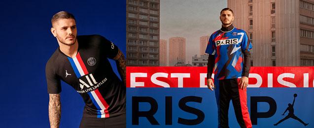 2 fotos del mismo modelo, una con la equipación oficial del PSG 2020 y a la otra con ropa urban street de Jordan X PSG