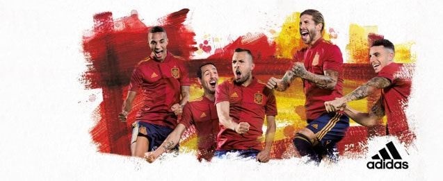 Jugadores de España con la equipación de la selección española