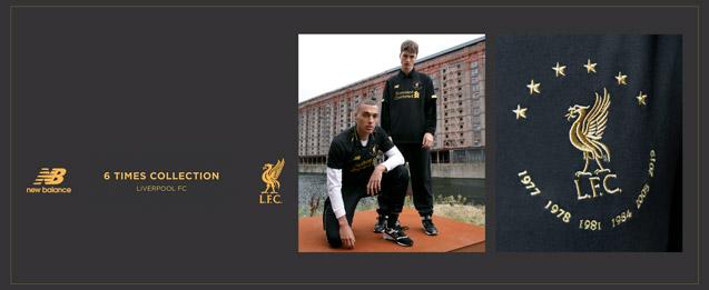 2 modelos con la ropa de la equipación Liverpool color negro con detalles dorados
