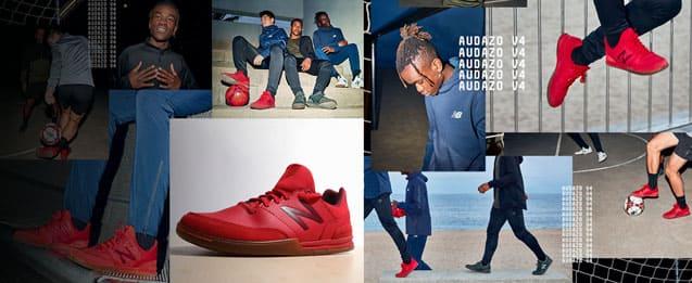 Nuevas botas de fútbol de new balance Audazo, 3 modelos de diferentes color, rojo, verde y blanco.
