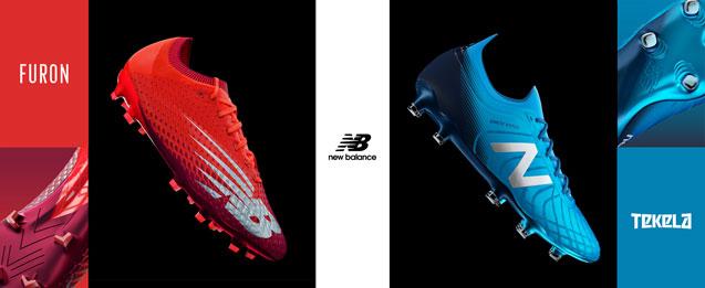 Imagen de las botas de fútbol de New Balance Furon color rojo y Tekela color azul