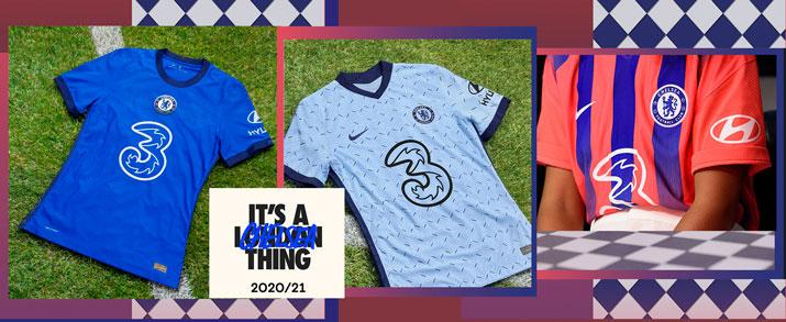 Camiseta de la primera, segunda y tercera equipación 2021 Chelsea FC.