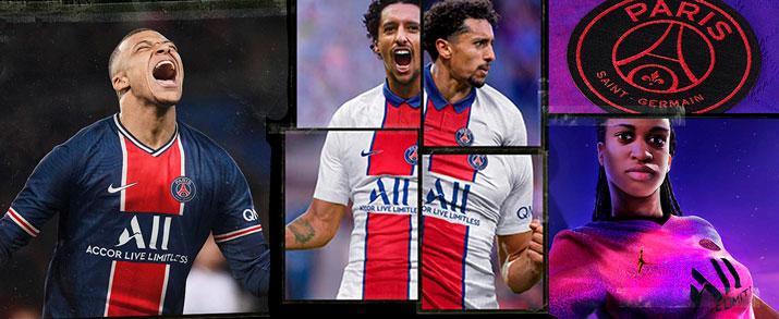 Camisetas fútbol Nike equipo Paris Saint Germain 2020-2021 de la primera, segunda y tercera equipación para niño