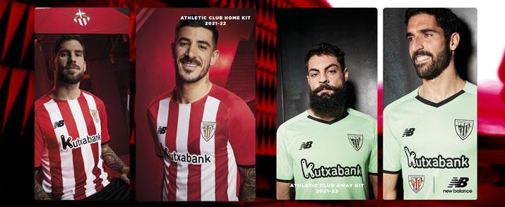 Camiseta de la primera y segunda equipación Bilbao 2022, la primera de color roja con franjas blancas y la segunda de color verde lima.