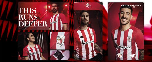 Camiseta de la primera equipación Bilbao 2022, color roja con franjas blancas