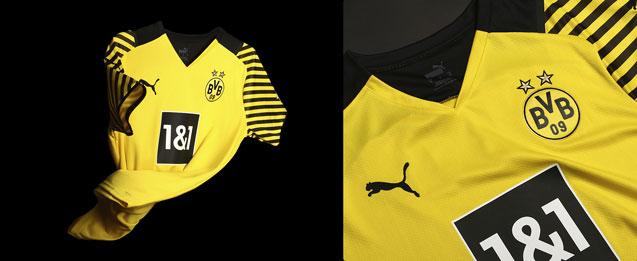 Camiseta primera equipación 2022 Borussia Dortmund, color amarillo con detalles en color negro.