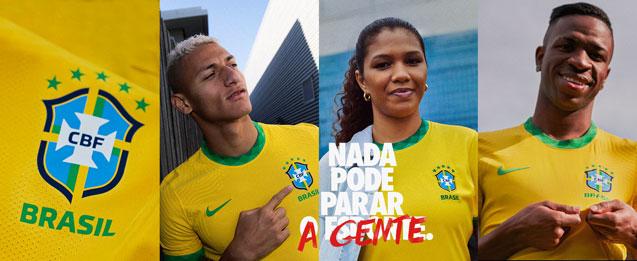 collage donde salen los jugadores de la selección brasileña con la primera equipación del 2020 para niño, niña