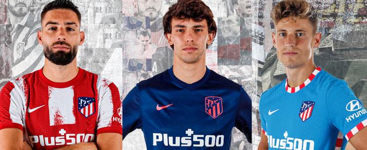 Las nuevas equipaciones del Atlético Madrid, primera, segunda y tercera equipación 2021 2022