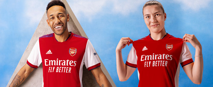 Camiseta de la primera equipación infantil 2022 Arsenal color amarillo.