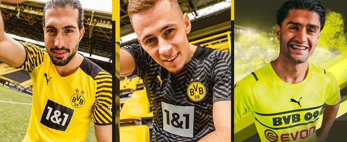 Camiseta primera, segunda y tercera equipación 2021 2022 Borussia Dortmund.