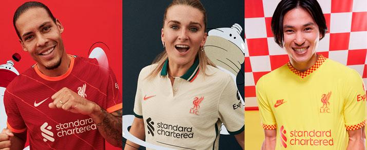 primera, segunda y tercera equipacion del Liverpool FC en futbolmania