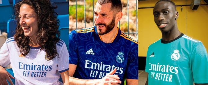 Camiseta fútbol adidas 1, 2 y 3a equipación Real Madrid 2021-2022 para niño