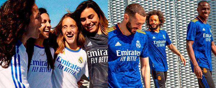Encuentra la primera y segunda equipación del Real Madrid, para la temporada 2021 - 2022 todo lo que necesitas lo encuentras en futbolmania.