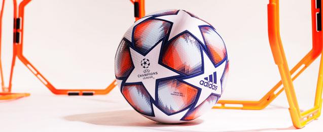 Balón Champions temporada 2020-2021 color blanca y azul.