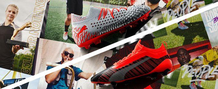 Botas de fútbol puma colección Anthem Pack, las Future de color gris con naranja y las ONE color rojo que combina con el negro y detalles en plateado.