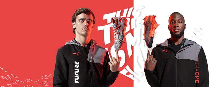 Las nuevas botas de fútbol puma Anthem pack, donde aparece griezmann con las puma Future, en color gris que combina con el rojo y Lukaku  con las puma One, en color rojo que combina con el negro y detalles en plateado.