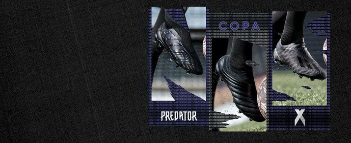 3 botas de fútbol adidas en color negro con algunos detalles en color lila oscuro. Colección adidas Dark Script pack