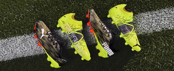 botas de fútbol Puma colección game on pack color amarillas y negras.