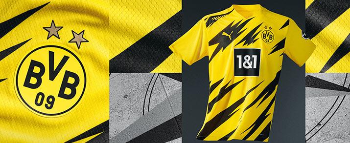 Camiseta primera equipación 2020 Borussia Dortmund, color amarillo con detalles en color negro.