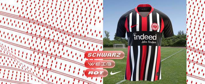 Camiseta de la primera equipación 2020 Eintracht, color negro, combinado con lineas verticales en color rojo y blanco..
