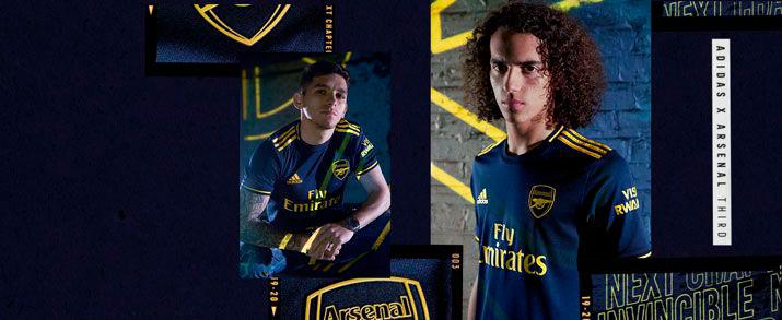 Camiseta de la segunda equipación 2020 Arsenal, azul con franjas amarillas