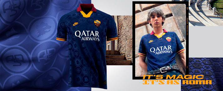 Camiseta tercera equipación 2020, con un diiseño retro en color azul marino con detalles en granate y amarillo.