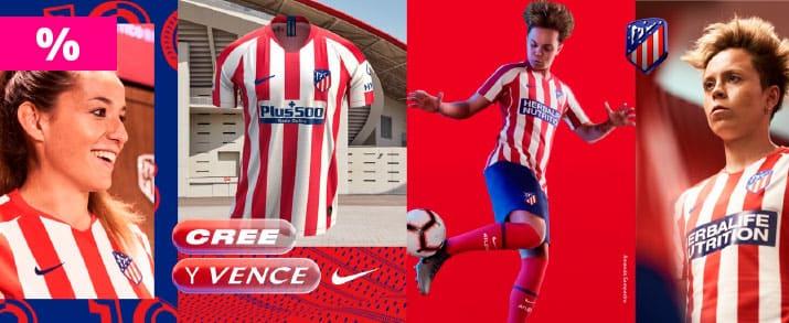 Rebajas camiseta atlético de Madrid primera equipación, franjas verticales de color rojo y blanco.