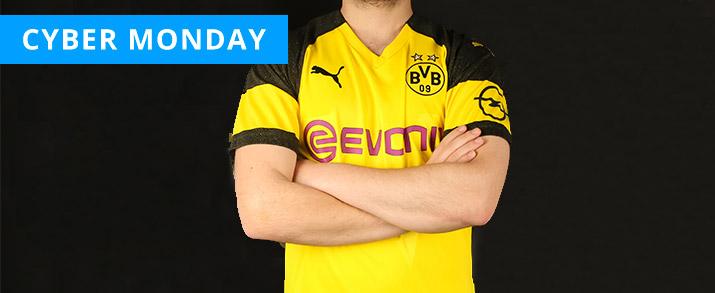 Camiseta primera equipación infantil 2020 Borussia Dortmund, color amarillo con detalles en color negro.
