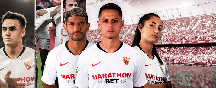 Camiseta de la primera equipación 2020 Sevilla, color blanco con detalles en rojo y negro.