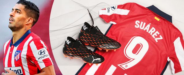 Bodegón de productos del jugador de Atlético de Madrid, Luis Suárez