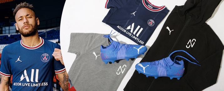 Bodegón de productos de fútbol de la colección Neymar Jr