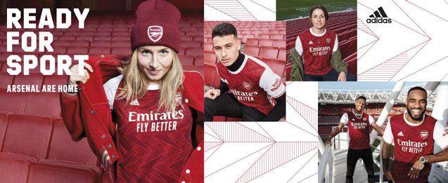 Camiseta de la primera equipación infantil 2021 Arsenal, en color rojo, que se combina con el blanco.