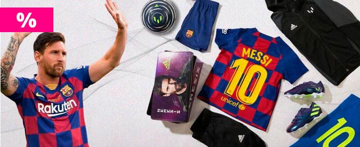Rebajas bodegón de productos del jugador de FC Barcelona Leonel Messi