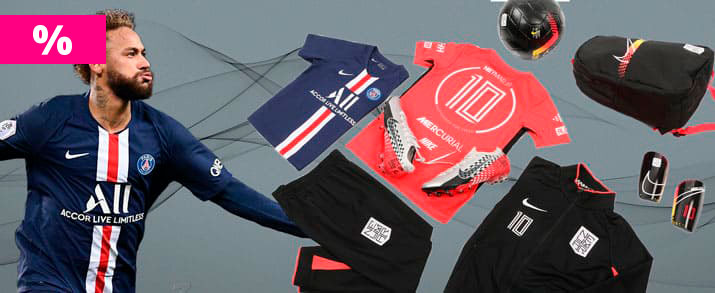 Rebajas bodegón de productos del jugador de Paris Saint Germain Neymar Jr