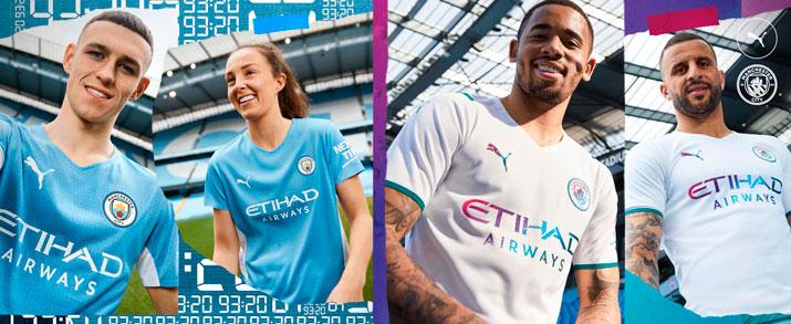 camiseta de la primera y segunda equipación adulto 2021-2022 Manchester City