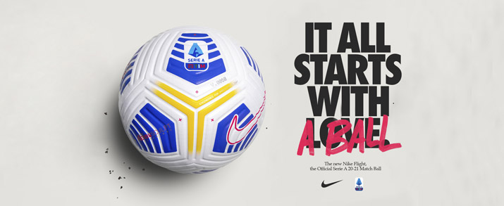 balón Nike Serie A temporada 2020-2021 color blanca con detalles azules.