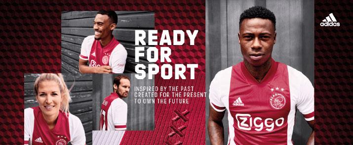 Camiseta primera equipación 2021 Ajax, colores tradicionales una franja central roja con los laterales de color blancas.