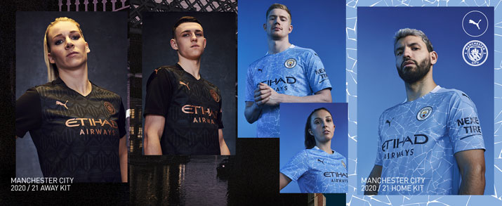 Camiseta de la primera equipación infantil 2021 Manchester City, diseño azul celeste con un gráfico estilo mosaico.